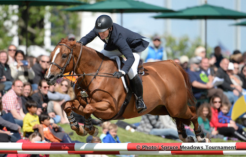 McLain Ward of USA riding Rothchild   during the CP Grand Prix at the Continental Show Jumping Tournament at Spruce Meadows.