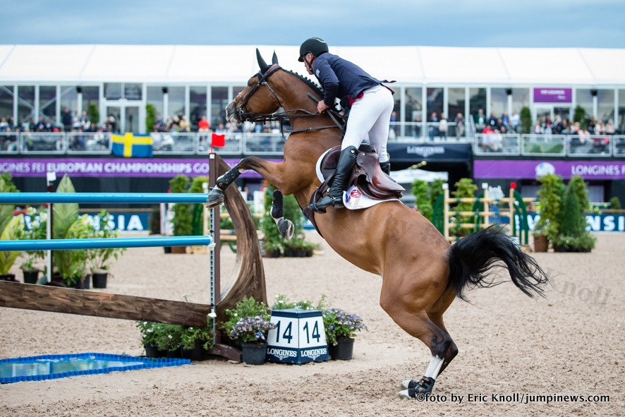 Photographie Eric KNOLL. Longines FEI European Championships Gothenburg 2017. Team Competition Round 1.Roger Yves Bost (FRA) riding Sangria du Coty