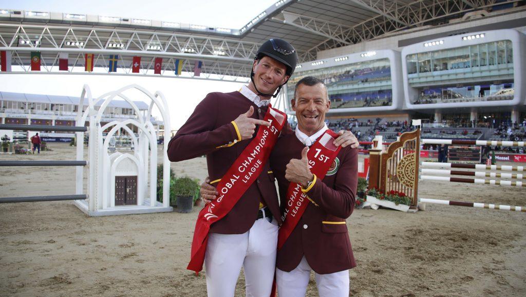 Pius Schwizer et Daniel Deusser heureux de leur victoire à Doha.